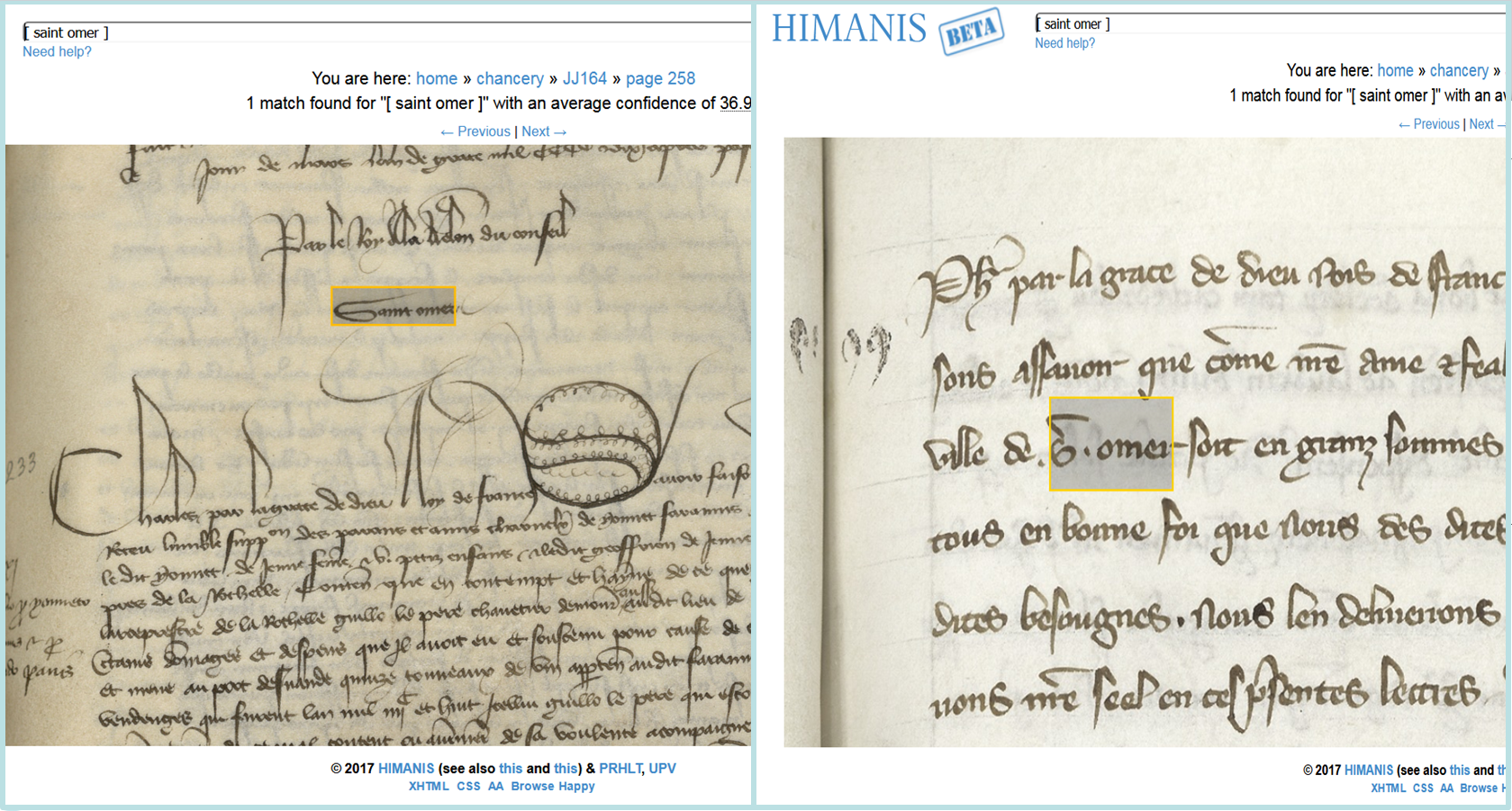 "Figure 1: Text indexing. The query ""[Saint Omer]"" retrieves both abbreviated and unabbreviated strings in different volumes and different handwritings. Images: Paris, Archives Nationales, JJ 35 and JJ 164."