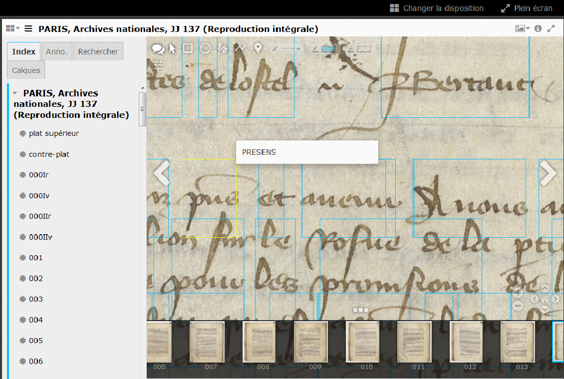 Figure 2: Indexed words as IIIF annotation in the IIIF compliant viewer Mirador (image: Paris, Archives Nationales, JJ 137, page 14)