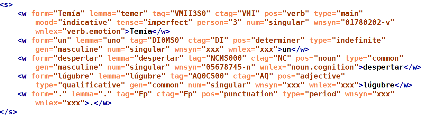 Linguistic annotations in an XML format that is a minimal departure from the TEI standard to allow multiple token-level annotations