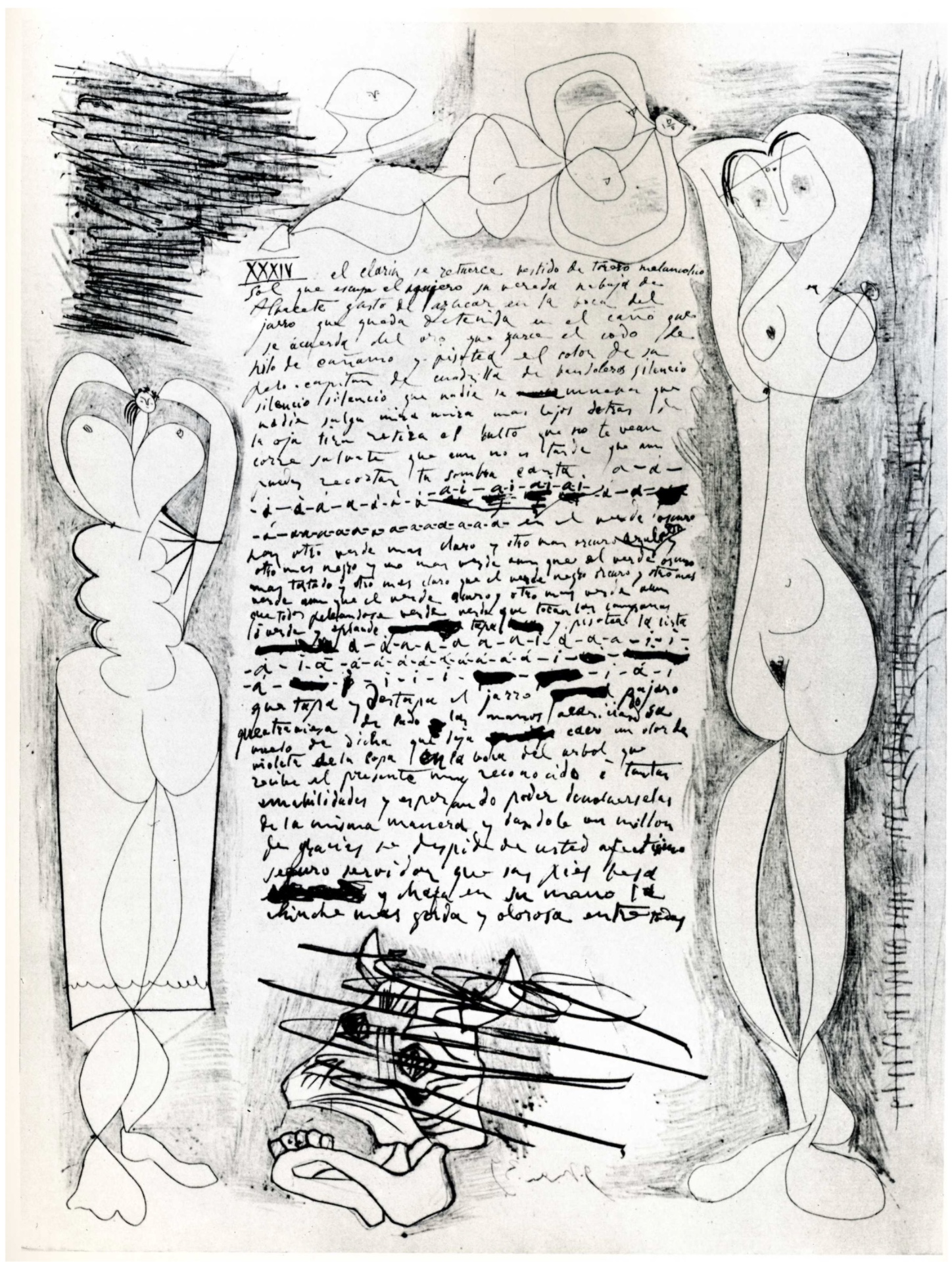 "Example of the visual components in Picasso's poetry. P. Picasso, ""si yo fuera afuera ... (2)"", Claude Ruiz-Picasso Collection, 1935."