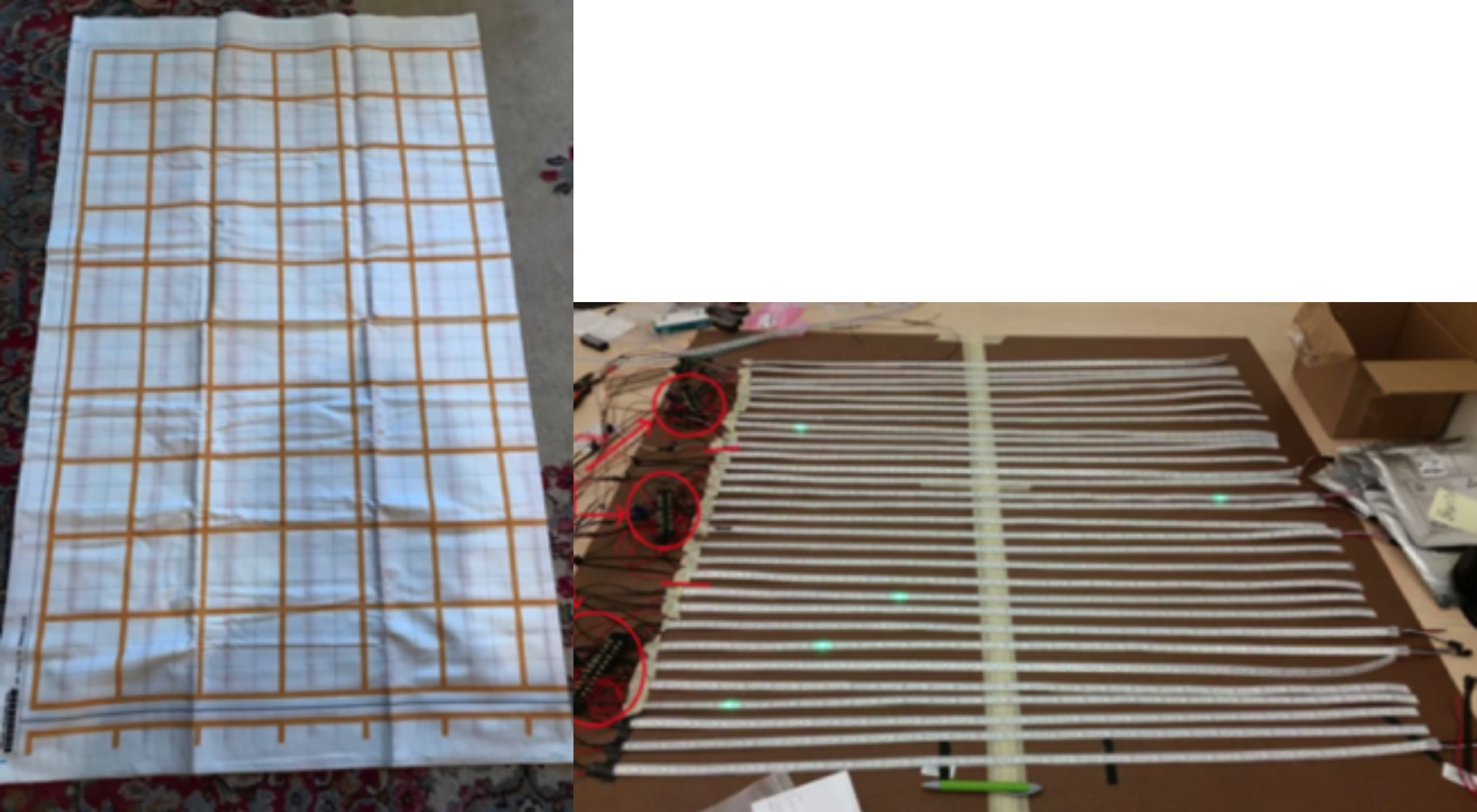 Left: Fabric layer before assembly. Right: LED layer before assembly.