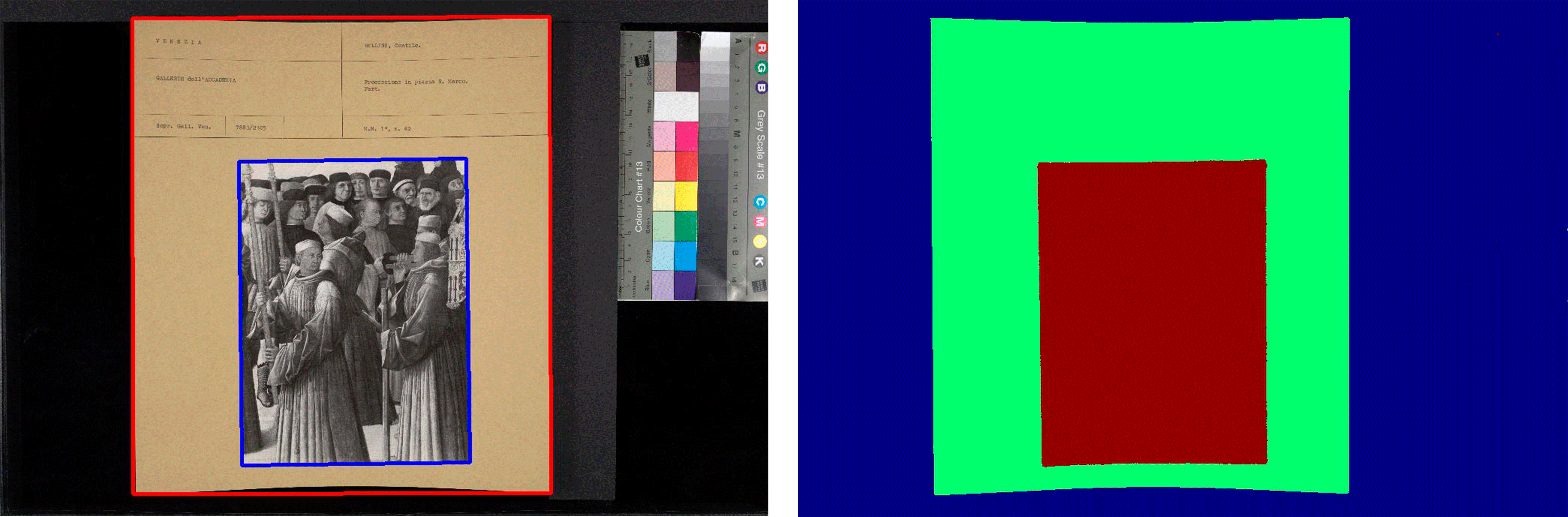 Figure Left: original scan with the extracted areas highlighted with red and blue rectangles. Right: the prediction mask generated by the neural network.