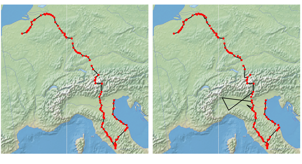 Figure - Ground-truth trajectory for the pilgrimage of Jehan de Tournay from Valenciennes to Venice (left), compared to the estimated trajectory for the same itinerary (right).