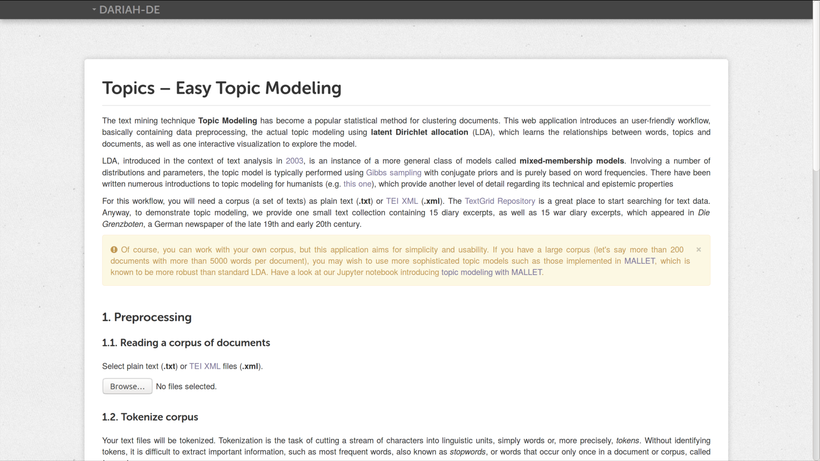 A Graphical User Interface for LDA Topic Modeling – DH2018